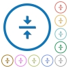 Vertical align center flat color vector icons with shadows in round outlines on white background - Vertical align center icons with shadows and outlines