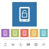 Smartphone unlock flat white icons in square backgrounds. 6 bonus icons included. - Smartphone unlock flat white icons in square backgrounds