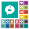 Quick reply message square flat multi colored icons - Quick reply message multi colored flat icons on plain square backgrounds. Included white and darker icon variations for hover or active effects.