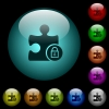 Lock plugin icons in color illuminated glass buttons - Lock plugin icons in color illuminated spherical glass buttons on black background. Can be used to black or dark templates