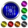 Digital fingerprint luminous coin-like round color buttons - Digital fingerprint icons on round luminous coin-like color steel buttons