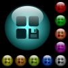 Save component icons in color illuminated glass buttons - Save component icons in color illuminated spherical glass buttons on black background. Can be used to black or dark templates