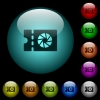 Photography shop discount coupon icons in color illuminated glass buttons - Photography shop discount coupon icons in color illuminated spherical glass buttons on black background. Can be used to black or dark templates