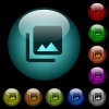 Photo library icons in color illuminated spherical glass buttons on black background. Can be used to black or dark templates - Photo library icons in color illuminated glass buttons