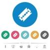 Razor blade flat round icons - Razor blade flat white icons on round color backgrounds. 6 bonus icons included.