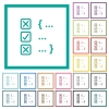 Source code checking flat color icons with quadrant frames - Source code checking flat color icons with quadrant frames on white background