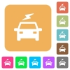 Electric car with flash rounded square flat icons - Electric car with flash flat icons on rounded square vivid color backgrounds.