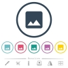 Single image flat color icons in round outlines. 6 bonus icons included. - Single image flat color icons in round outlines