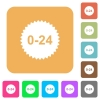 24 hours sticker rounded square flat icons - 24 hours sticker flat icons on rounded square vivid color backgrounds.