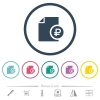 Ruble financial report flat color icons in round outlines - Ruble financial report flat color icons in round outlines. 6 bonus icons included.