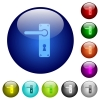 Left handed door handle with screws color glass buttons - Left handed door handle with screws icons on round color glass buttons