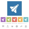 Space shuttle flat white icons in square backgrounds - Space shuttle flat white icons in square backgrounds. 6 bonus icons included.