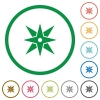 Compass flat icons with outlines - Compass flat color icons in round outlines on white background
