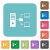 Network file system with server rounded square flat icons - Network file system with server white flat icons on color rounded square backgrounds