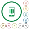 Setting up mobile homescreen flat icons with outlines - Setting up mobile homescreen flat color icons in round outlines on white background