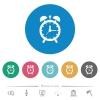 Alarm clock flat round icons - Alarm clock flat white icons on round color backgrounds. 6 bonus icons included.