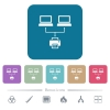 Network printing white flat icons on color rounded square backgrounds. 6 bonus icons included - Network printing flat icons on color rounded square backgrounds
