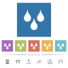 Water drops flat white icons in square backgrounds - Water drops flat white icons in square backgrounds. 6 bonus icons included.