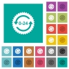 24 hours sticker with arrows square flat multi colored icons - 24 hours sticker with arrows multi colored flat icons on plain square backgrounds. Included white and darker icon variations for hover or active effects.