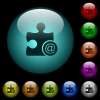 Email plugin icons in color illuminated glass buttons - Email plugin icons in color illuminated spherical glass buttons on black background. Can be used to black or dark templates
