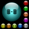 Database mirroring icons in color illuminated glass buttons - Database mirroring icons in color illuminated spherical glass buttons on black background. Can be used to black or dark templates
