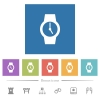 Watch flat white icons in square backgrounds. 6 bonus icons included. - Watch flat white icons in square backgrounds