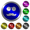 Glasses and mustache luminous coin-like round color buttons - Glasses and mustache icons on round luminous coin-like color steel buttons