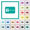 Gift card with text flat color icons with quadrant frames - Gift card with text flat color icons with quadrant frames on white background