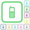 Retro mobile phone vivid colored flat icons - Retro mobile phone vivid colored flat icons in curved borders on white background