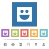 Smiley flat white icons in square backgrounds. 6 bonus icons included. - Smiley flat white icons in square backgrounds