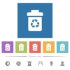 Recycle bin flat white icons in square backgrounds - Recycle bin flat white icons in square backgrounds. 6 bonus icons included.