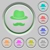 Incognito with mustache push buttons - Incognito with mustache color icons on sunk push buttons