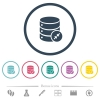 Shrink database flat color icons in round outlines - Shrink database flat color icons in round outlines. 6 bonus icons included.