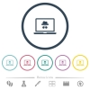 Laptop with incognito symbol flat color icons in round outlines. 6 bonus icons included. - Laptop with incognito symbol flat color icons in round outlines