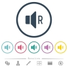 Right audio channel flat color icons in round outlines - Right audio channel flat color icons in round outlines. 6 bonus icons included.