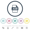 ASM file format flat color icons in round outlines - ASM file format flat color icons in round outlines. 6 bonus icons included.