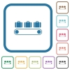 Luggage conveyor simple icons - Luggage conveyor simple icons in color rounded square frames on white background
