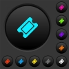 Single ticket dark push buttons with color icons - Single ticket dark push buttons with vivid color icons on dark grey background