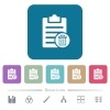 Delete note flat icons on color rounded square backgrounds - Delete note white flat icons on color rounded square backgrounds. 6 bonus icons included