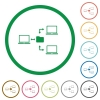 Network file system flat icons with outlines - Network file system flat color icons in round outlines on white background