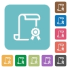 Scroll with certificate on right rounded square flat icons - Scroll with certificate on right white flat icons on color rounded square backgrounds