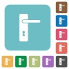Right handed simple door handle rounded square flat icons - Right handed simple door handle white flat icons on color rounded square backgrounds