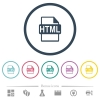 HTML file format flat color icons in round outlines. 6 bonus icons included. - HTML file format flat color icons in round outlines