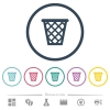 Trash flat color icons in round outlines. 6 bonus icons included. - Trash flat color icons in round outlines