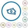 More banknotes with portrait icons with shadows and outlines - More banknotes with portrait flat color vector icons with shadows in round outlines on white background
