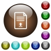 Upload document color glass buttons - Upload document white icons on round color glass buttons
