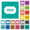 Winner ticket square flat multi colored icons - Winner ticket multi colored flat icons on plain square backgrounds. Included white and darker icon variations for hover or active effects.