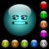 Conveyor with boxes icons in color illuminated glass buttons - Conveyor with boxes icons in color illuminated spherical glass buttons on black background. Can be used to black or dark templates