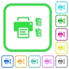 Printer and ink cartridges vivid colored flat icons - Printer and ink cartridges vivid colored flat icons in curved borders on white background