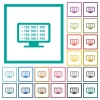 Ping remote computer flat color icons with quadrant frames - Ping remote computer flat color icons with quadrant frames on white background